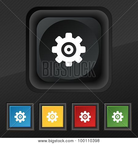 Cog Settings, Cogwheel Gear Mechanism  Icon Symbol. Set Of Five Colorful, Stylish Buttons On Black T