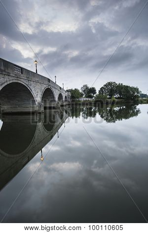 Dawn Landscape Chertsey Bridge Over River Thames In London