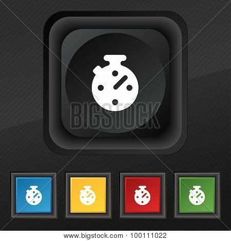 Timer, Stopwatch  Icon Symbol. Set Of Five Colorful, Stylish Buttons On Black Texture For Your Desig