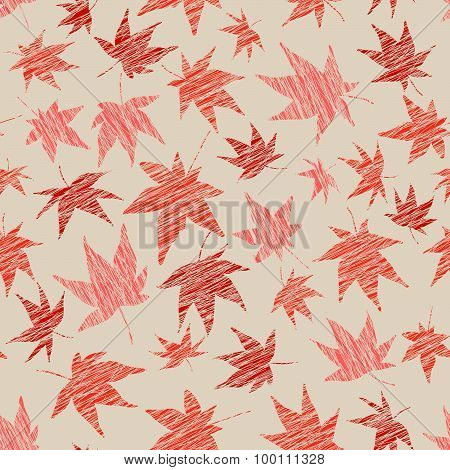 Fall background with scratched maple leaves. Seamless pattern.