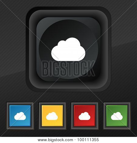 Cloud  Icon Symbol. Set Of Five Colorful, Stylish Buttons On Black Texture For Your Design. Vector