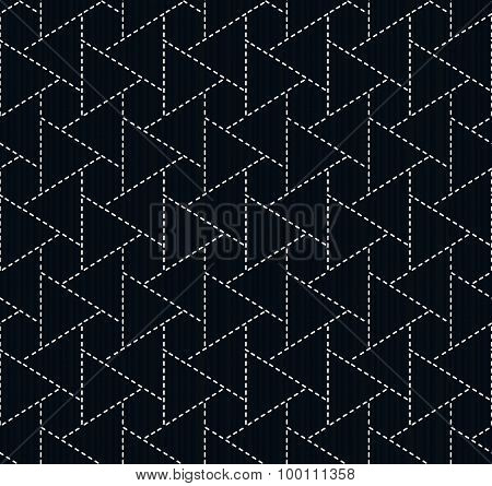 Traditional japanese embroidery. Sashiko. Seamless pattern.