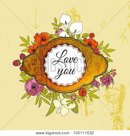 Vintage greeting vector card with flowers and berries.