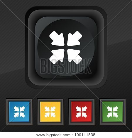Turn To Full Screen  Icon Symbol. Set Of Five Colorful, Stylish Buttons On Black Texture For Your De