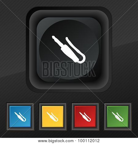 Plug, Mini Jack Icon Symbol. Set Of Five Colorful, Stylish Buttons On Black Texture For Your Design.