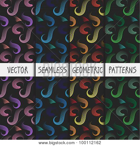 Grunge colorful geometric seamless patterns set