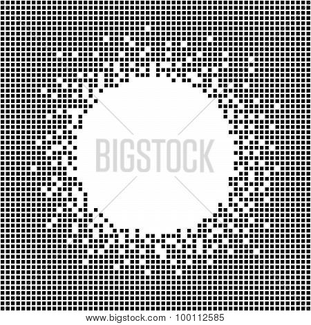 Decorative frame with copy space for text. Pixel background. Monochrome.