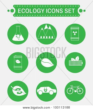 Ecology Logo Vector Icons Set