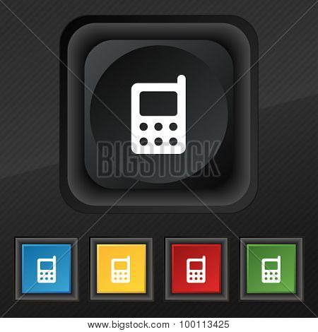 Mobile Phone Icon Symbol. Set Of Five Colorful, Stylish Buttons On Black Texture For Your Design. Ve