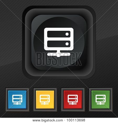 Server Icon Symbol. Set Of Five Colorful, Stylish Buttons On Black Texture For Your Design. Vector