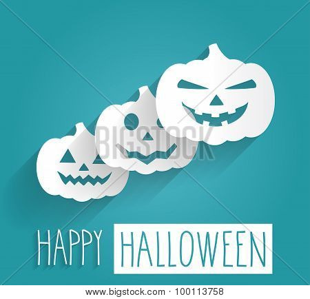 Happy Halloween blue poster. Handwritten letters with pumpkins
