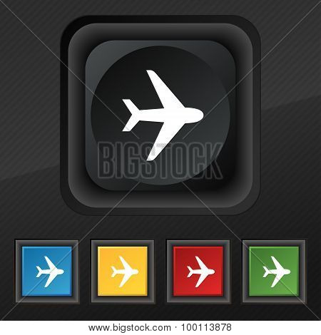 Plane Icon Symbol. Set Of Five Colorful, Stylish Buttons On Black Texture For Your Design. Vector