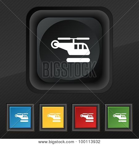 Helicopter Icon Symbol. Set Of Five Colorful, Stylish Buttons On Black Texture For Your Design. Vect
