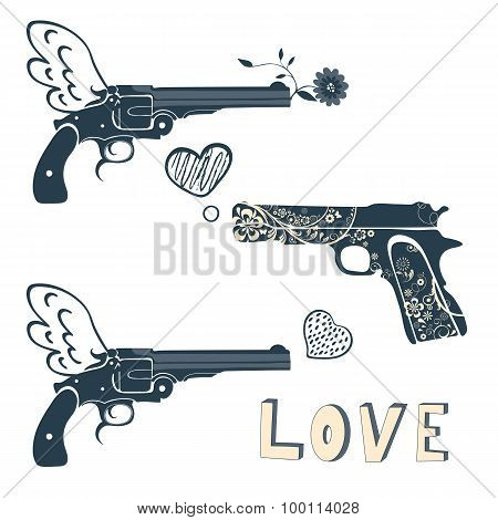 Love guns set. Vintage emblems with gun shooting a heart