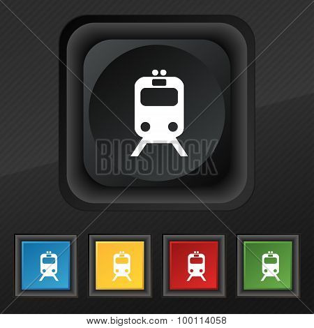 Train Icon Symbol. Set Of Five Colorful, Stylish Buttons On Black Texture For Your Design. Vector