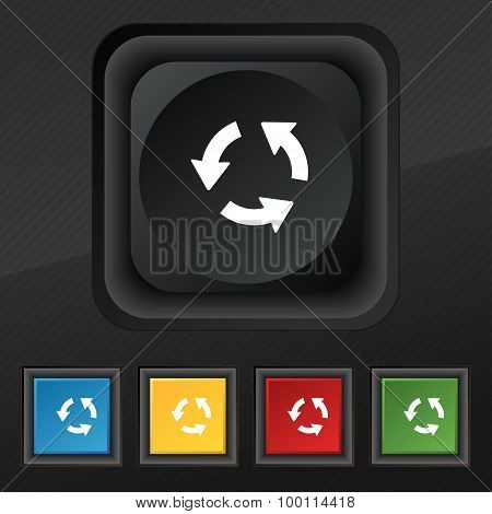 Refresh Icon Symbol. Set Of Five Colorful, Stylish Buttons On Black Texture For Your Design. Vector