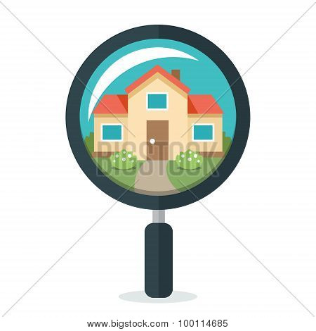 House In Magnifying Glass