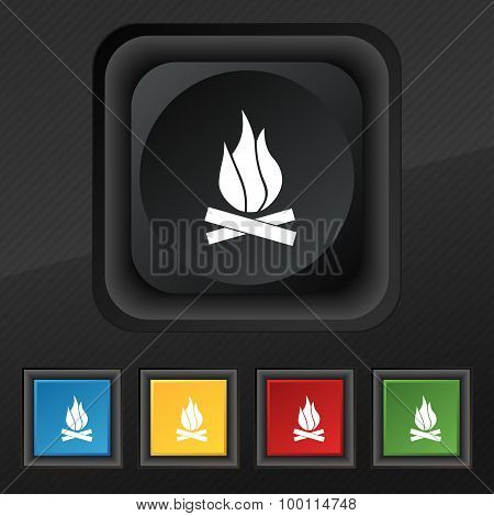 A Fire Icon Symbol. Set Of Five Colorful, Stylish Buttons On Black Texture For Your Design. Vector