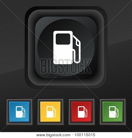 Auto Gas Station Icon Symbol. Set Of Five Colorful, Stylish Buttons On Black Texture For Your Design