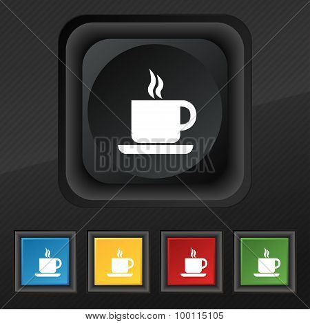 Coffee Icon Symbol. Set Of Five Colorful, Stylish Buttons On Black Texture For Your Design. Vector