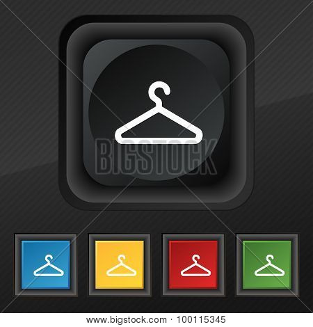 Clothes Hanger Icon Symbol. Set Of Five Colorful, Stylish Buttons On Black Texture For Your Design.