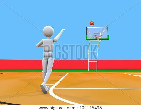 Artful Throw Volleyball Player