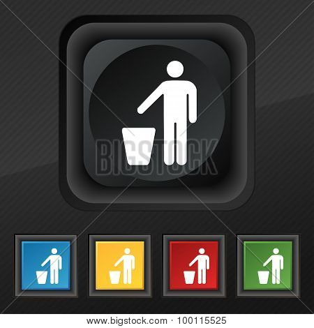 Throw Away The Trash Icon Symbol. Set Of Five Colorful, Stylish Buttons On Black Texture For Your De