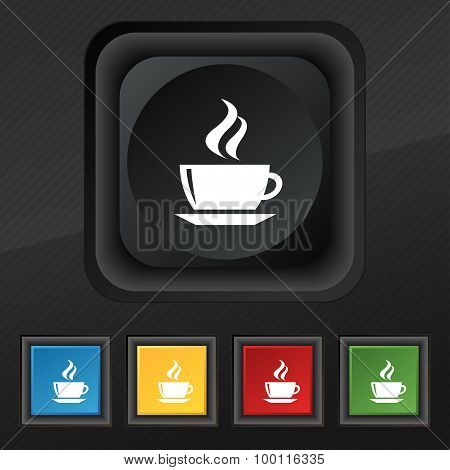 Tea, Coffee Icon Symbol. Set Of Five Colorful, Stylish Buttons On Black Texture For Your Design.
