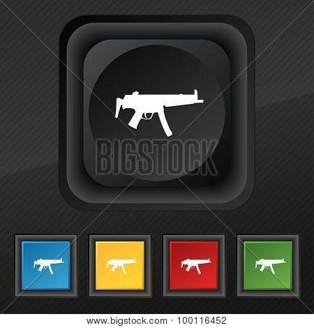 Machine Gun Icon Symbol. Set Of Five Colorful, Stylish Buttons On Black Texture For Your Design.