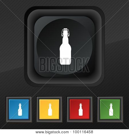 Bottle Icon Symbol. Set Of Five Colorful, Stylish Buttons On Black Texture For Your Design. Vector