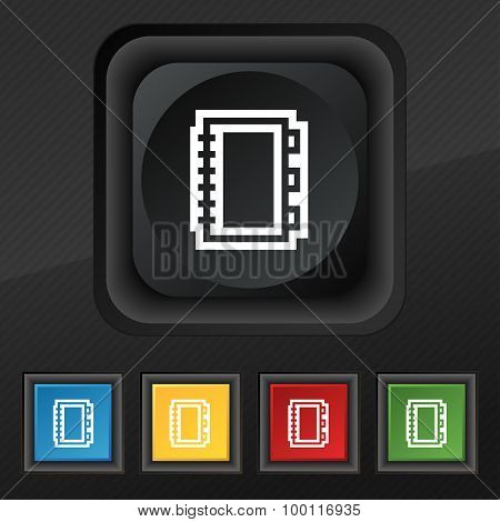 Book Icon Symbol. Set Of Five Colorful, Stylish Buttons On Black Texture For Your Design. Vector