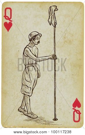 Playing Card, Queen - Vintage Golfer, An Woman. Freehand Drawing.