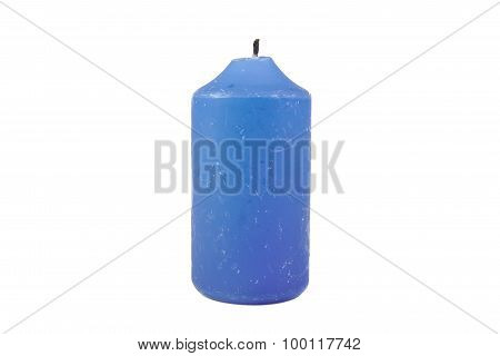 Close up view of an extinguished blue candle isolated on a white background