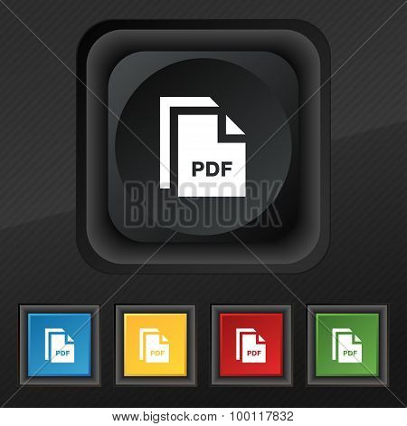 File Pdf Icon Symbol. Set Of Five Colorful, Stylish Buttons On Black Texture For Your Design. Vector