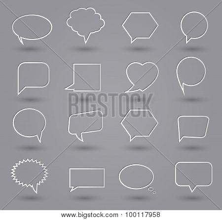 Speech bubbles icons. Thin line speech bubbles