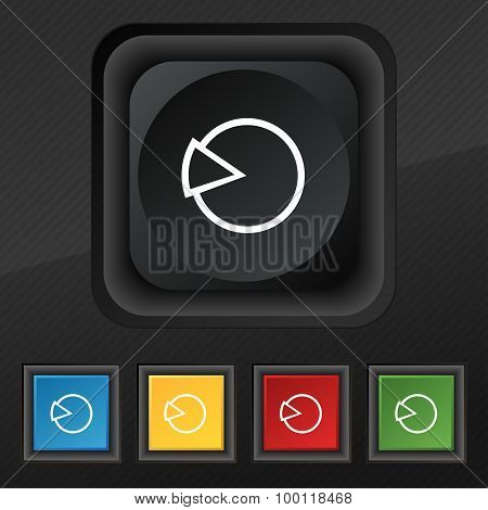 Pie Chart Graph Icon Symbol. Set Of Five Colorful, Stylish Buttons On Black Texture For Your Design.