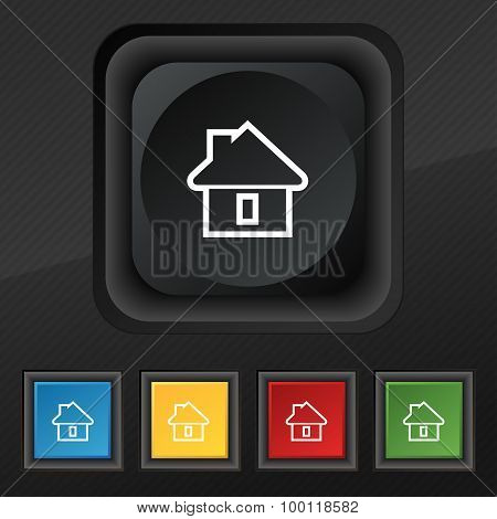 House Icon Symbol. Set Of Five Colorful, Stylish Buttons On Black Texture For Your Design. Vector