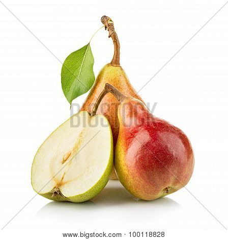 Ripe Pears Close-up Isolated On A White Background