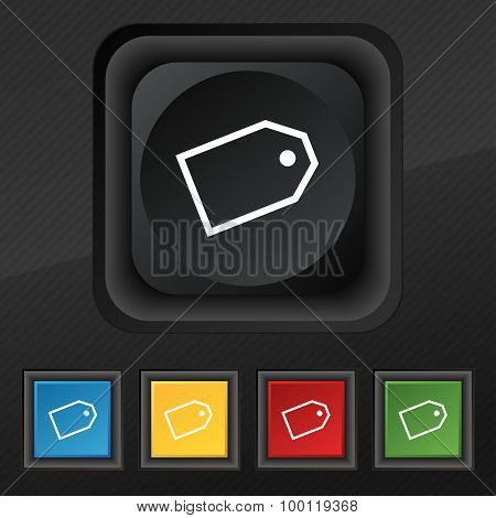 Web Stickers Icon Symbol. Set Of Five Colorful, Stylish Buttons On Black Texture For Your Design. Ve