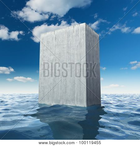 Abstract monolithic concrete slab in sea