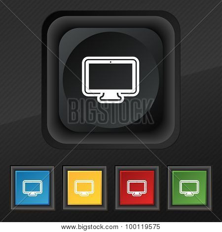 Monitor Icon Symbol. Set Of Five Colorful, Stylish Buttons On Black Texture For Your Design. Vector