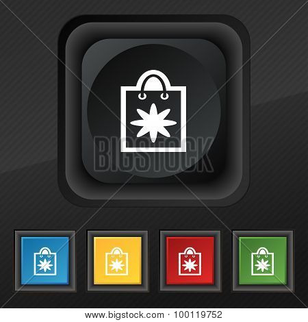 Shopping Bag Icon Symbol. Set Of Five Colorful, Stylish Buttons On Black Texture For Your Design. Ve