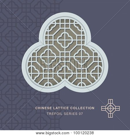 Chinese window tracery lattice trefoil frame 07 cross square