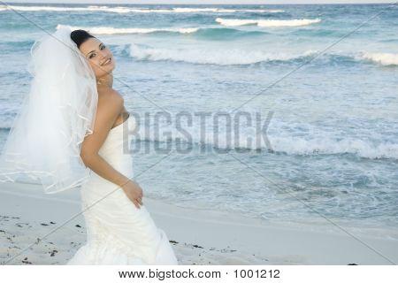 Caribbean Beach Wedding  Bride Posing 2