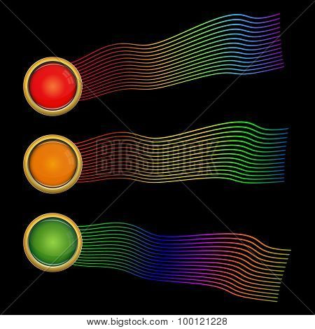 Set Of Three Colorful Glass Buttons