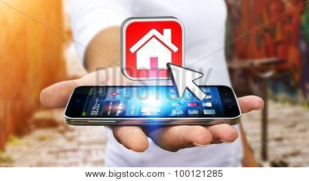 Businessman Using Modern Mobile Phone To Rent A Flat