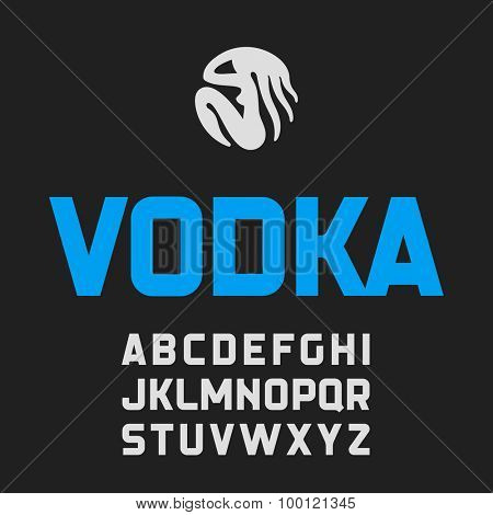 Modern vodka style label font. Vector.