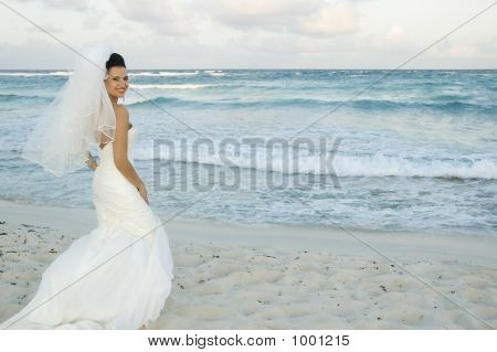 Caribbean Beach Wedding - Bride Posing