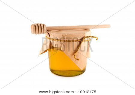 Honey, Wooden Spoon, Isolated White Background Clipping Path.