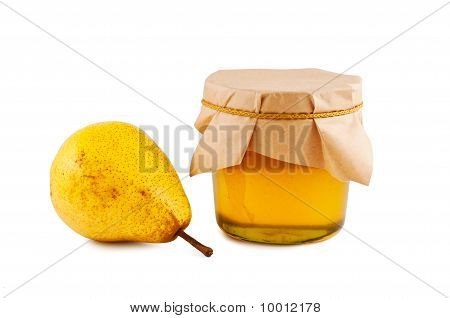 Honey, Pear, Isolated White Background.